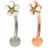 Plumeria Flower Curved Eyebrow Barbell 16G