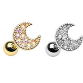 Moon Sparkle Cartilage Stud Earring 18g
