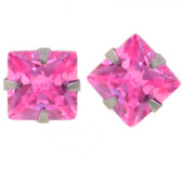 Steel Square Shaped Pink CZ Stud Earrings (5 Sizes)