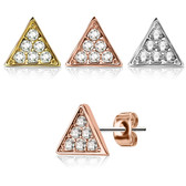 Triangle Top with Crystal Accents Stud Earrings