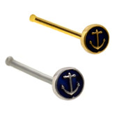 Anchor Round Top Nose Ring Stud 20G