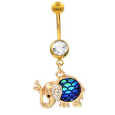 Royal Elephant w/Blue Mermaid Scales Belly Ring