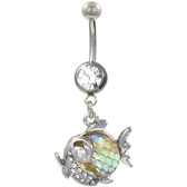 Scaley Goldfish Dangle Steel Belly Ring