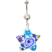 Stained Glass Flower Patterned Star Belly Ring