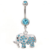 Magnificent Gem Paved Aqua Elephant Belly Ring