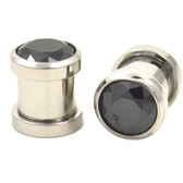 Black Cubic Zirconia Gem Steel Ear Plugs (8g-00g)