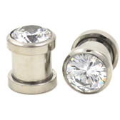 Clear Cubic Zirconia Gem Steel Ear Plugs (8g-00g)