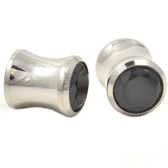 Black CZ Gem Steel Saddle Plugs (8g-00g)
