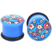 "Blue Cherry Blossom Flowers Single Flared Plugs (6g-1"")"