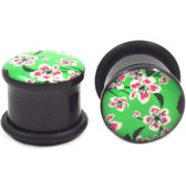 "Green Cherry Blossom Single Flared Plugs (6g-1"")"