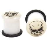 "Sicko Skull White & Black Glow Ear Plugs (8g-5/8"")"