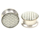"Silver Checker Design Steel Ear Plugs (8g-5/8"")"
