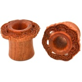 "Handmade Sawo Wood Floral Design Tunnels (0g-1"")"