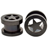 "Black Titanium Star Screw Tunnel Ear Plugs (8g-1"")"