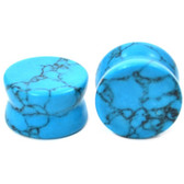"Turquoise Stone Double Flared Ear Plugs (8g-1"")"