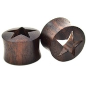 "Sono Wood Star Center Tunnels Ear Plugs (2g-1"")"