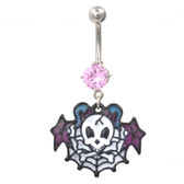Skull Crossbones & Web Multi Colored Belly Ring