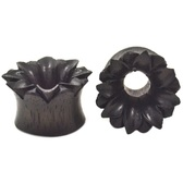 "Areng Wood Full Bloom Lotus Tunnels Plugs (2g-1"")"