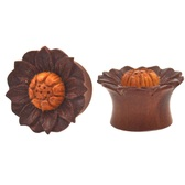 "Lt Brown Wood Tunnels Carved Lotus Plugs (0g-1"")"