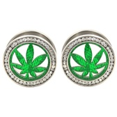 "Marijuana Pot Leaf Gem Rim Steel Tunnel Plugs (0g-1"")"
