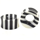 "Black & White Striped Ear Tunnels Plugs (4g-1"")"