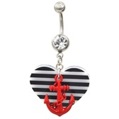 Red Anchor & Black/White Striped Heart Belly Ring