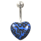Black & Blue Leopard Printed Heart Belly Ring