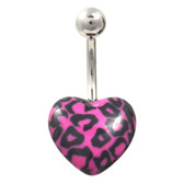 Pink & Black Leopard Printed Heart Belly Ring