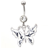 Whimsical Shiny Butterfly White Belly Ring