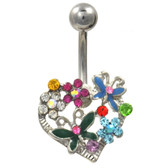 Natures Heart Multi Colored Steel Belly Ring