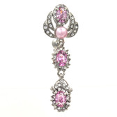 Pink Pearl & Gems Fancy Reverse Belly Ring