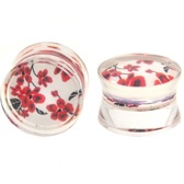 "Clear Transparent Cherry Blossom Ear Plugs (4g-1"")"