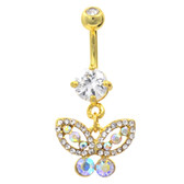 Gold Plated Fancy Gemmed Butterfly Belly Ring