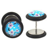 Blue Cherry Blossoms Fake Plug Earrings (00g Look)