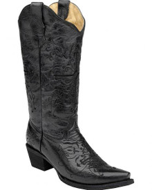 Corral Circle G Women's Black/Black Cross Embroidery Snip Toe Western Boots