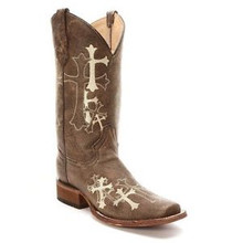 Ladies Circle G Embroidered Cross SQ Toe Boots