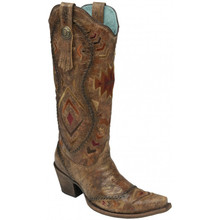Ladies Corral Cognac/Multicolor Ethnic Pattern & Whip Stitch Boots
