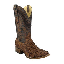 Men's Corral Brown Gnarly Fish Skin Wide Square Toe Boots