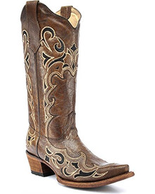 Ladies Circle G by Corral Brown & Black  Side Embroidery Boots
