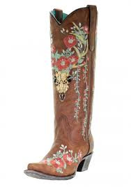 Ladies Corral Tan Deer Skull Overlay & Floral Embroidery Boots