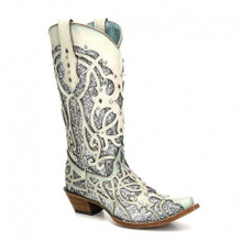 Ladies Corral White & Turquoise Chameleon Sun Effect Boots
