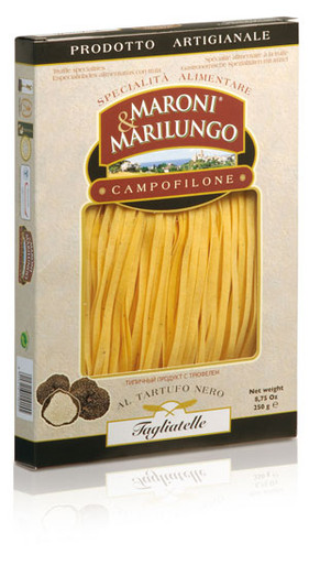 A thin Italian pasta made with durum wheat semolina, fresh pasteurised eggs and black truffle.