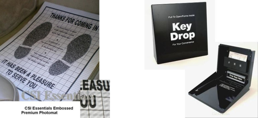 disposable floor mats, key drop box