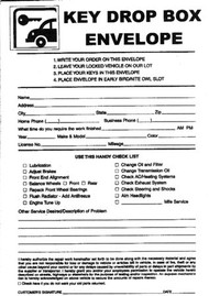 Envelope for Night Key Drop Box