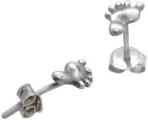 STERLING SILVER CHRISTIAN FOOT FOOTPRINT POST EARRINGS