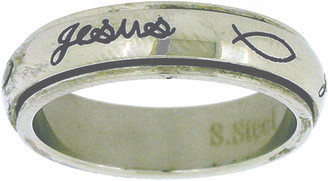 "STAINLESS STEEL CURSIVE ""Jesus"" SPIN RING WITH ICHTHUSES (FISH) STYLE 380"