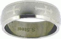 STAINLESS STEEL ORTHODOX CROSS RING STYLE 335 WITH MATTE FINISH BACKGROUND