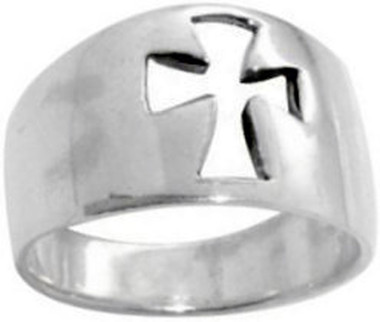 STERLING SILVER CUTOUT MALTA CROSS RING STYLE 434