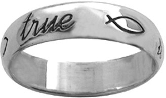 "STERLING SILVER CURSIVE ""true love waits"" WITH ICHTHUSES RING STYLE 831"