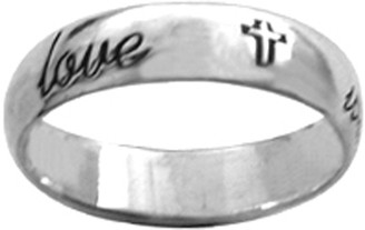 "STERLING SILVER CURSIVE ""true love waits"" WITH CROSSES RING STYLE 832"
